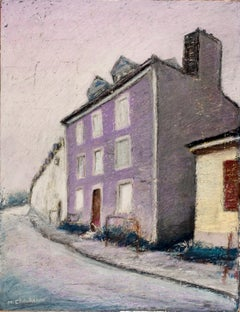 Plain Mauve French House Along the Road at Sunset Oil Pastel