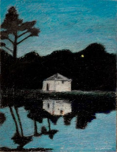 Small Lone House and Woods Reflecting into Water at Clear Night Oil Pastel