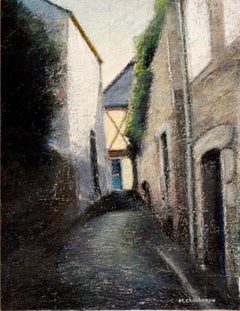 Small Uphill Shaded Alley Leading to a Sunlit Half-Timbered House Oil Pastel
