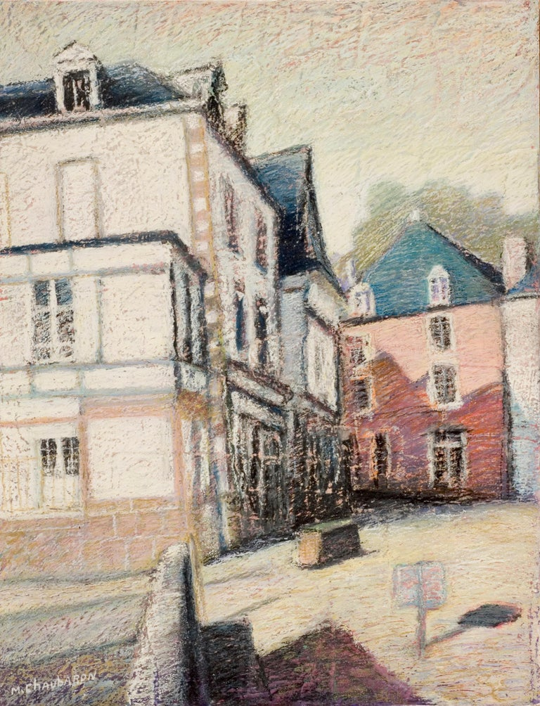 Marc Chaubaron Landscape Painting - Tall Houses on a Square in Brittany by the End of the Day Oil Pastel