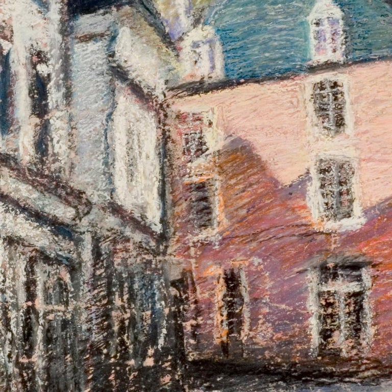 Tall Houses on a Square in Brittany by the End of the Day Oil Pastel - Impressionist Painting by Marc Chaubaron