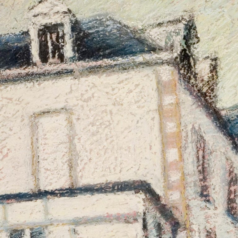 Tall Houses on a Square in Brittany by the End of the Day Oil Pastel - Beige Landscape Painting by Marc Chaubaron