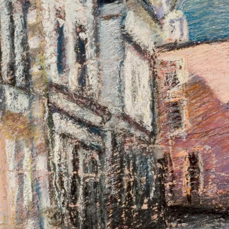 Tall Houses on a Square in Brittany by the End of the Day Oil Pastel For Sale 1