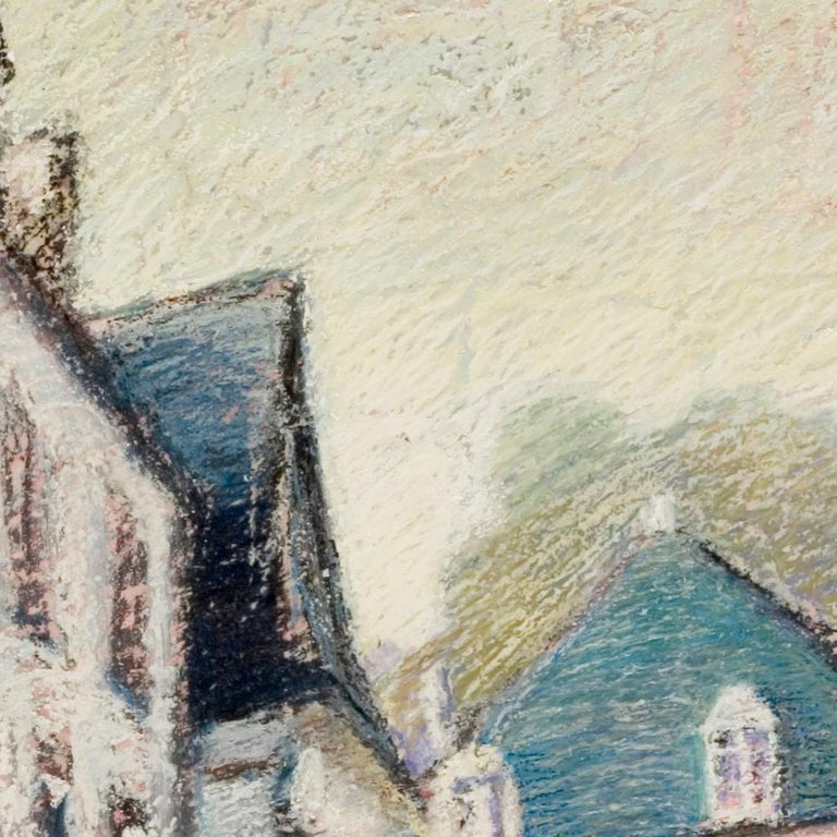 Tall Houses on a Square in Brittany by the End of the Day Oil Pastel For Sale 2