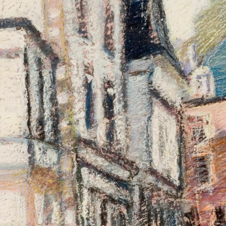 Tall Houses on a Square in Brittany by the End of the Day Oil Pastel For Sale 4