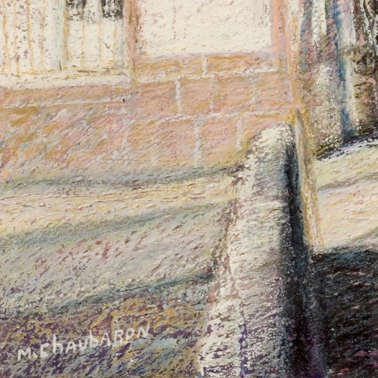 Tall Houses on a Square in Brittany by the End of the Day Oil Pastel For Sale 8