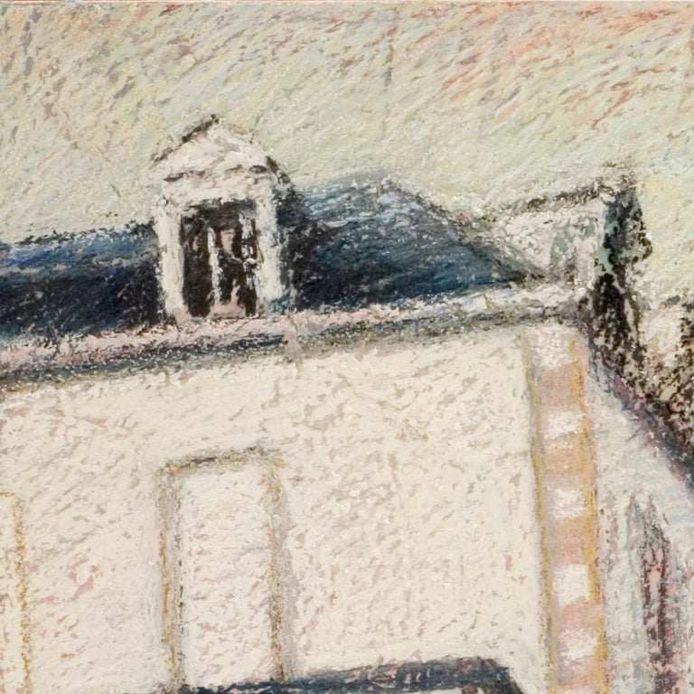 Tall Houses on a Square in Brittany by the End of the Day Oil Pastel For Sale 7