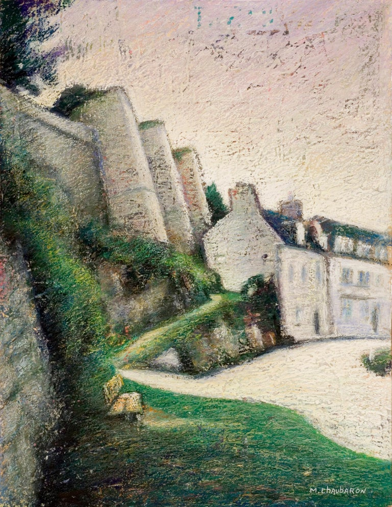 """Marc Chaubaron Figurative Painting - View of the """"Rampes du Loc'h"""" on Auray Ramparts at Sunset, Brittany, Oil Pastel"""