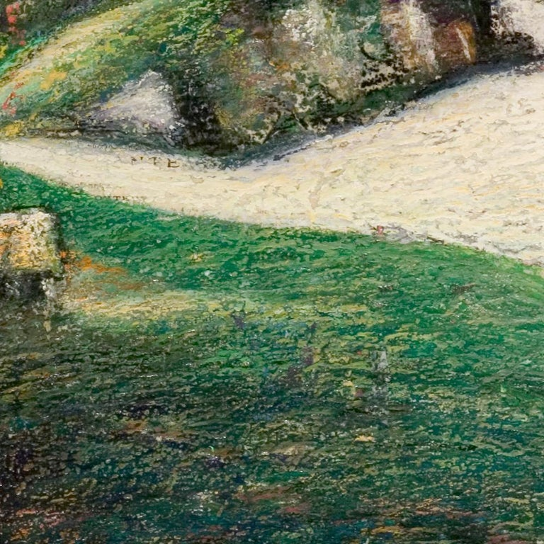 This artwork is part of a series of oil pastels from Marc Chaubaron, who aimed to keep a record of the old Saint-Goustan French port.  It features a view of the