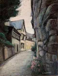 Brittany Uphill Street with Half-Timbering Houses at Sunset Oil Pastel