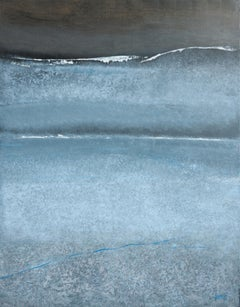 """The Blue Line"", Large Abstract Grayish Blue Wave Textured Acrylic Painting"