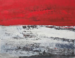 1916, June 7th, First World War Tribute Red and White Abstract Acrylic Painting