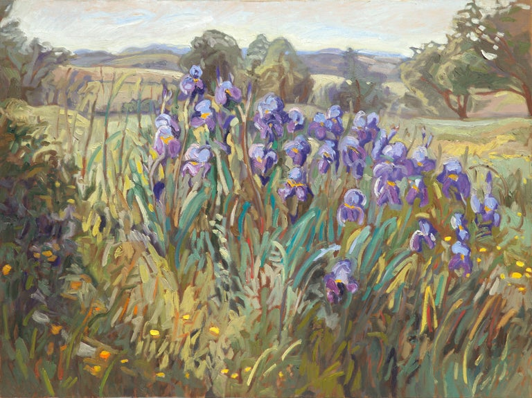 This artwork features a bosquet of purple Iris in a rural landscape of Auvergne. Hills and trees are visible in the background, and small yellow flowers in the foreground on grasses. The colors are both vivid and refreshing.  Yves Calméjane usually