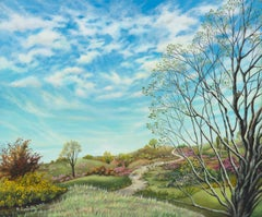 """Nowhere Path"", Flowered Landscape with Clouds Naive Primitive Acrylic Painting"