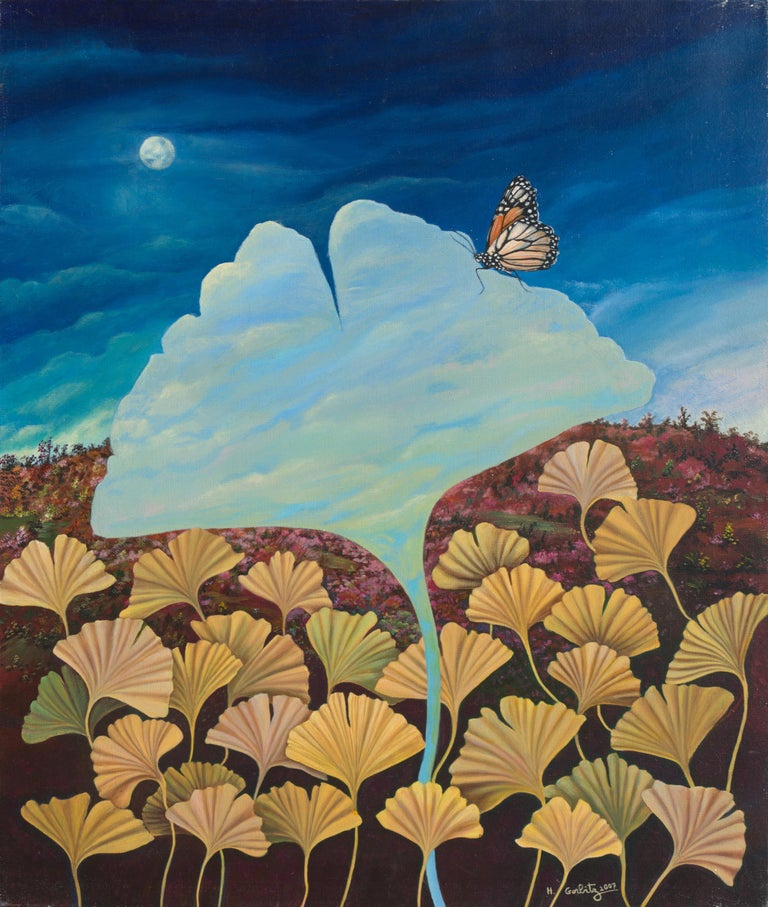 This artwork depicts a carpet of oversized yellow gingko leaves over a pinkish heather landscape at nightfall, with the moon behind a curtain of clouds. The center of the canvas is occupied by a surrealist daylight cloudy sky cut in the shape of a