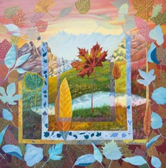 """Blue Skies in Leaves"", Surrealist Landscape Naive Primitive Acrylic Painting"
