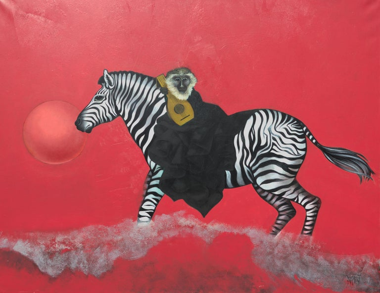This artwork depicts a monkey (maybe a vervet monkey ?), dressed in a black cloak, carrying a luth while riding a zebra, looking at the spectator. The background is plain red, with a red ball or sun behind the zebra muzzle. The zebra hooves raise a