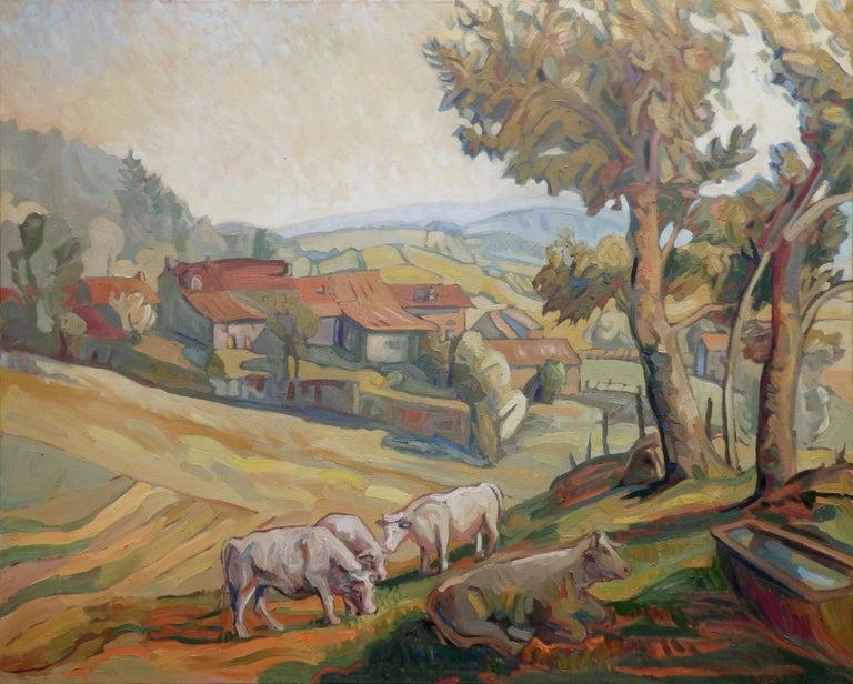 "Yves Calméjane Landscape Painting - ""Charolais Cows"", Large Rural Hilly Landscape Impressionist Oil Painting"