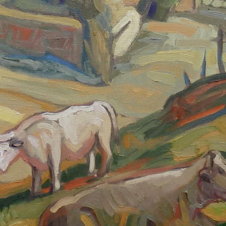 This artwork depicts a rural landscape of the Bourbonnais. In the foreground, on the right bottom corner, a Charolais cow is laying in the shadow of a tree, near a trough. Just behind, three other cows are grazing in the meadow. Two trees occupy the