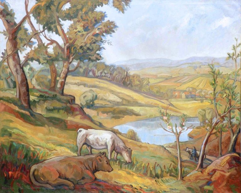 This artwork depicts a rural landscape of the Bourbonnais. In the foreground, on the left bottom corner, a Charolais cow is laying in the shadow. Just behind, another cow is grazing tall grass in the meadow. The hill is rising up on the left, where