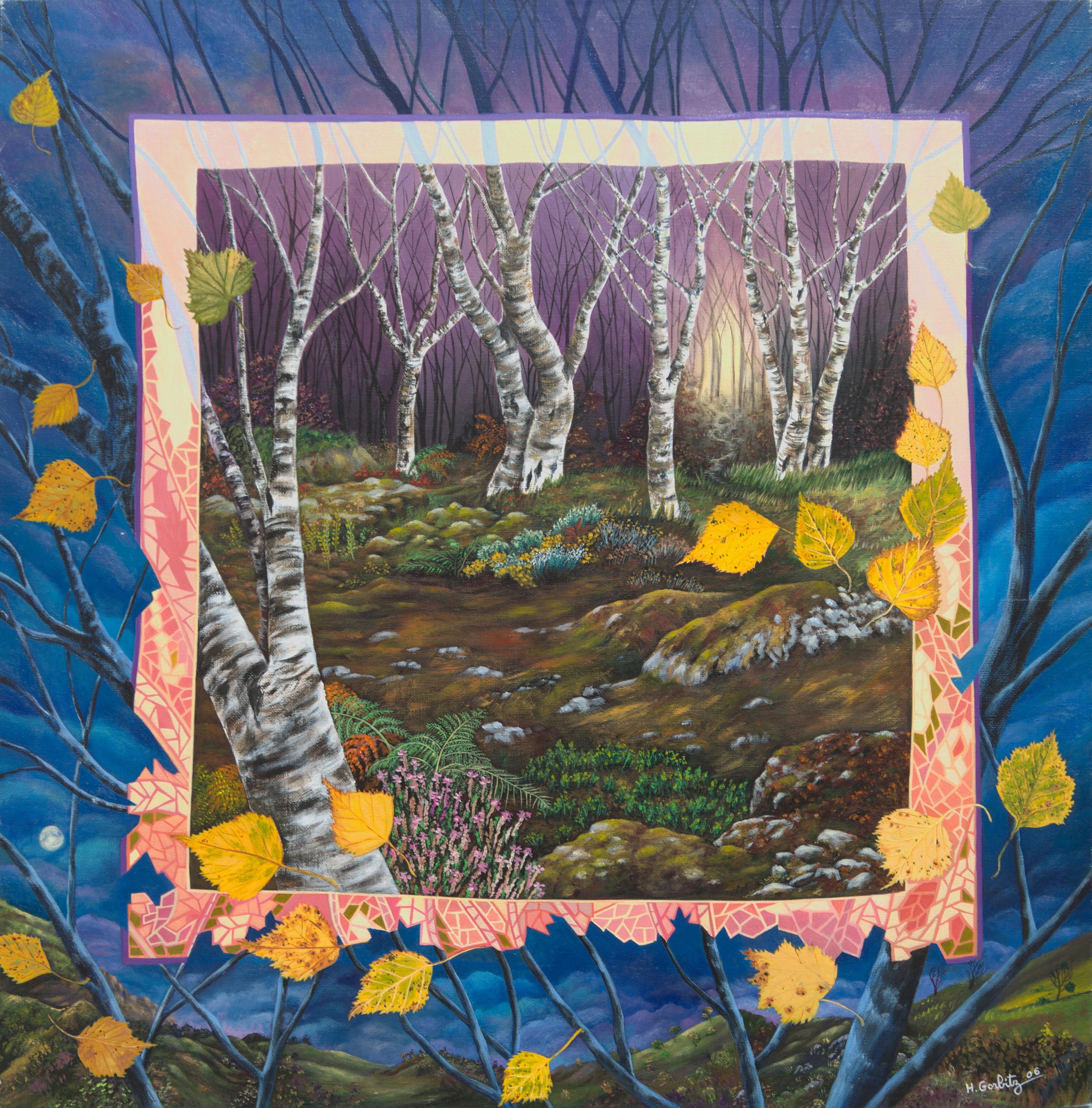 """Birch Woods"", Surrealist Naive Primitive Night Landscape Acrylic Painting"