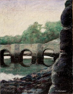 Stone Arch Bridge on the River at Dusk or Dawn with Green Trees Oil Pastel