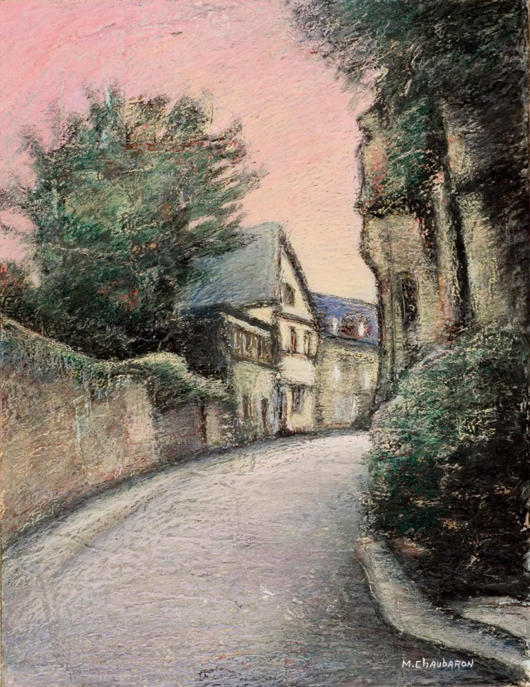Marc Chaubaron Landscape Painting - Curved Street with Pink Sky, Houses, Wall and Trees Oil Pastel
