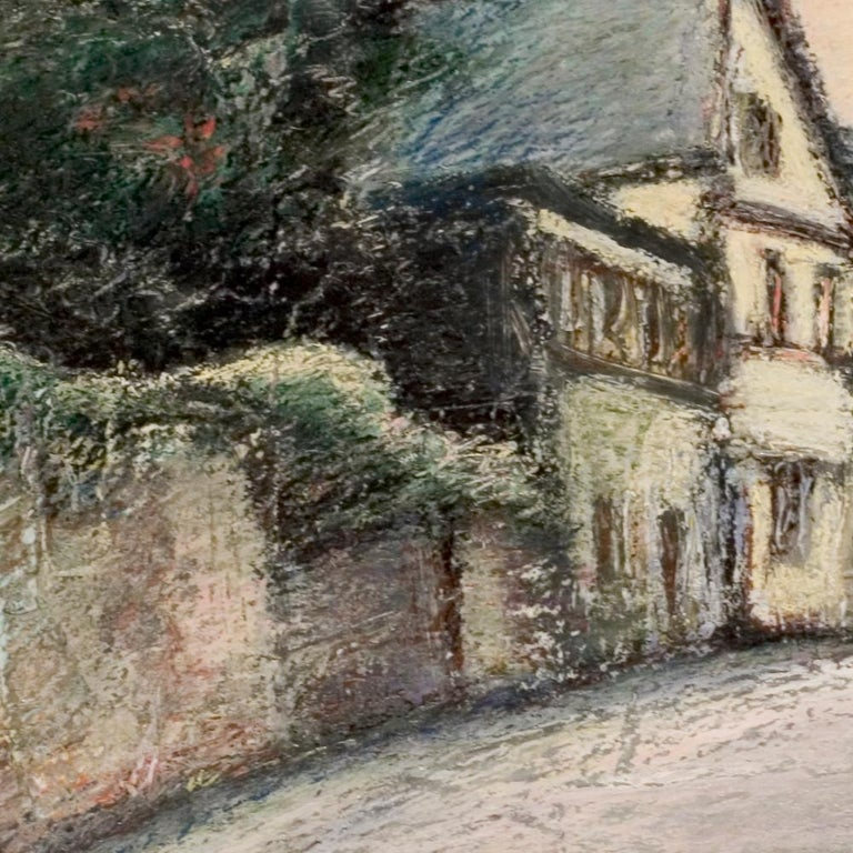 Curved Street with Pink Sky, Houses, Wall and Trees Oil Pastel - Painting by Marc Chaubaron