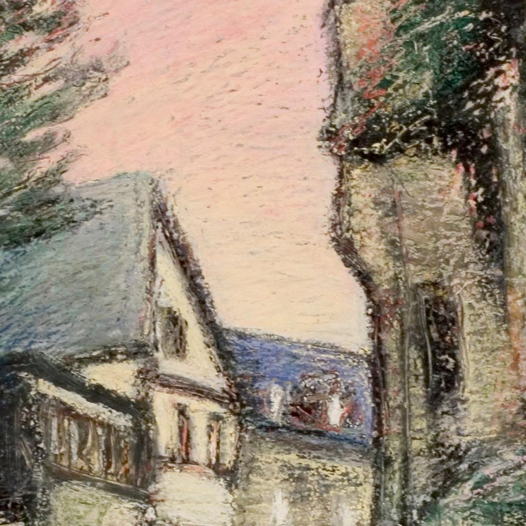 Curved Street with Pink Sky, Houses, Wall and Trees Oil Pastel - Impressionist Painting by Marc Chaubaron