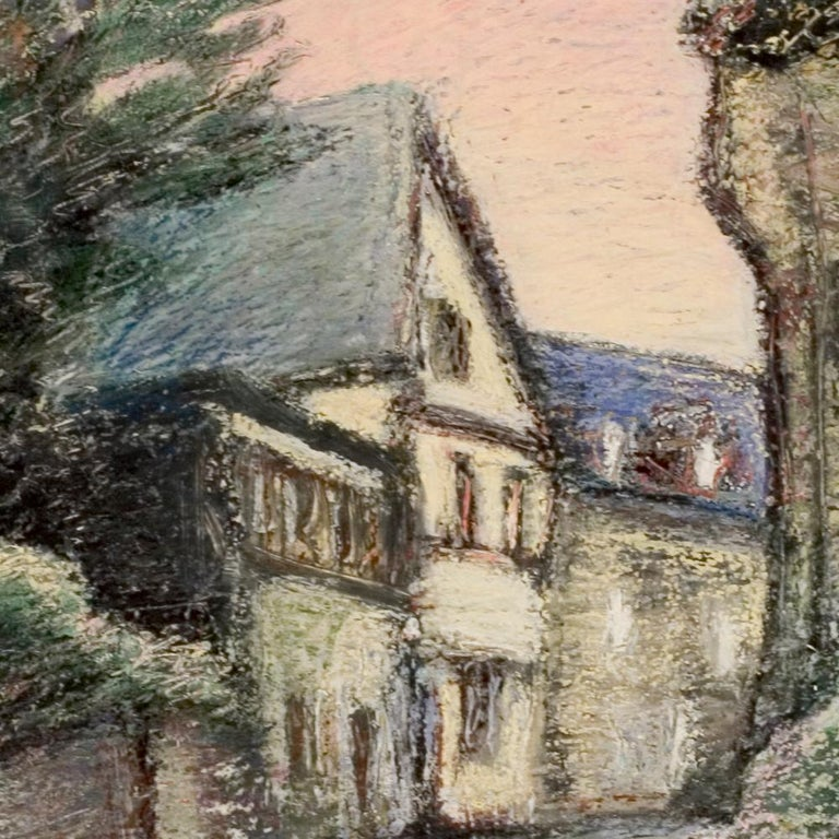 Curved Street with Pink Sky, Houses, Wall and Trees Oil Pastel - Brown Landscape Painting by Marc Chaubaron