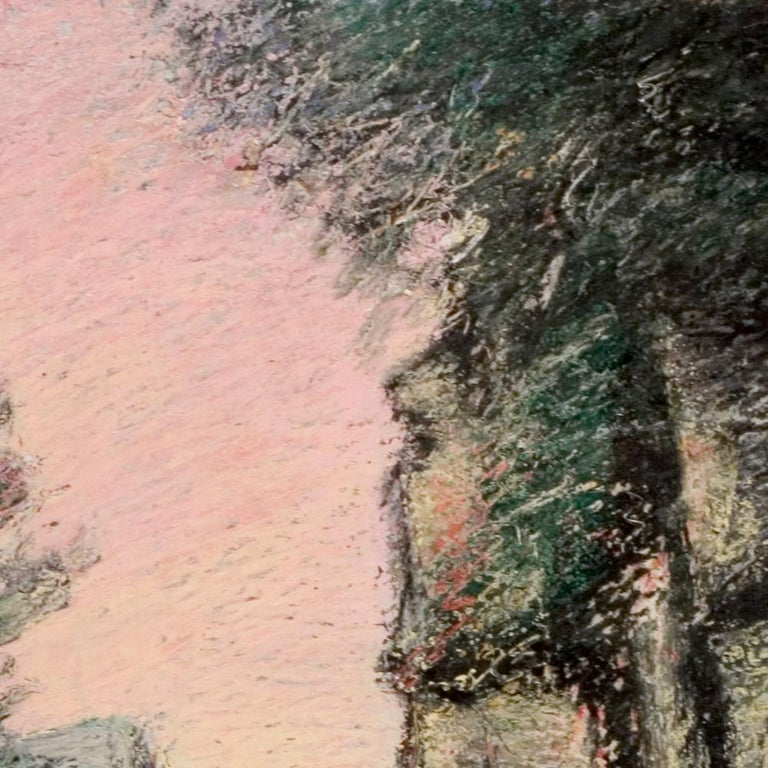 Curved Street with Pink Sky, Houses, Wall and Trees Oil Pastel For Sale 1