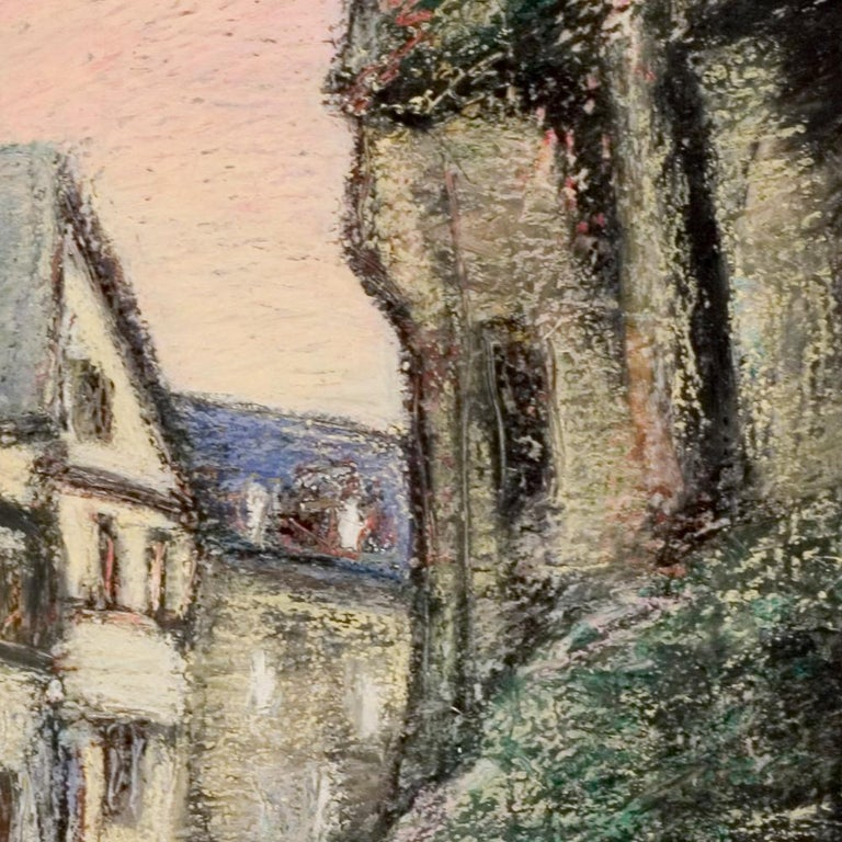 Curved Street with Pink Sky, Houses, Wall and Trees Oil Pastel For Sale 2