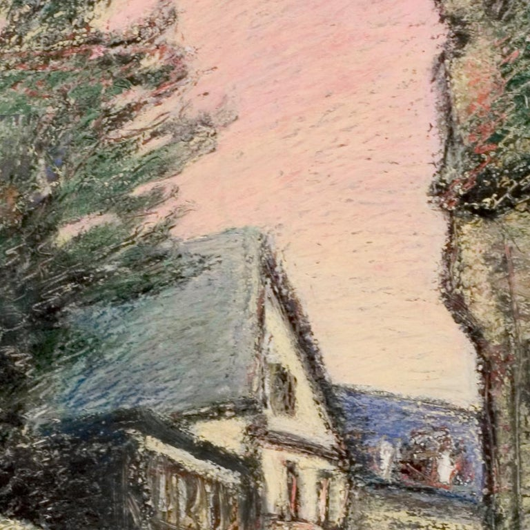 Curved Street with Pink Sky, Houses, Wall and Trees Oil Pastel For Sale 3