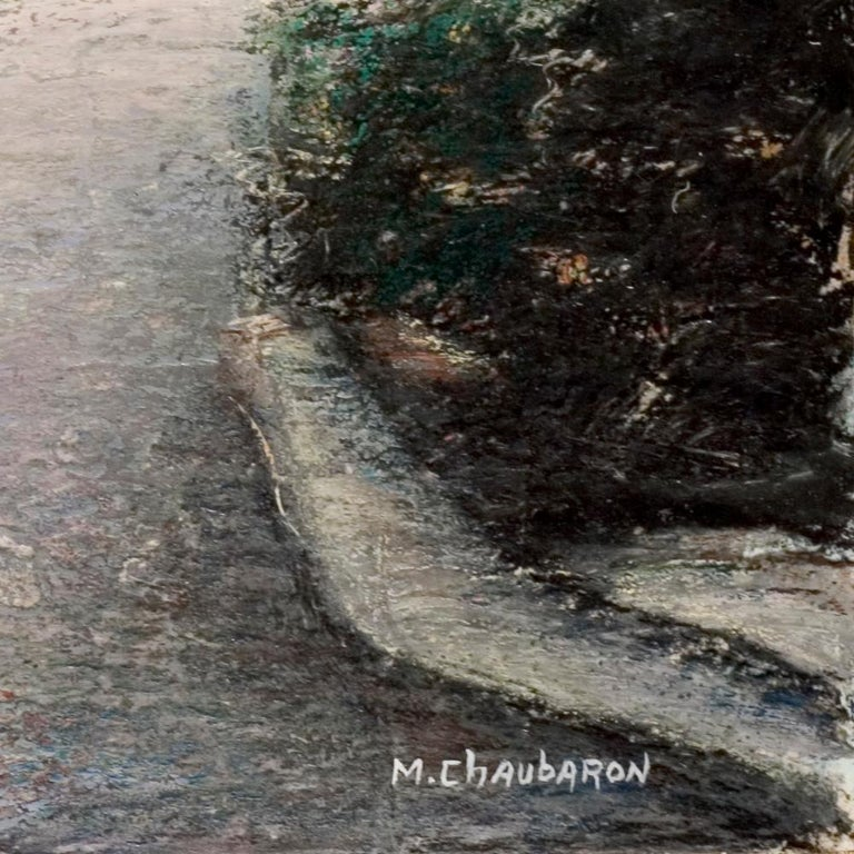 Curved Street with Pink Sky, Houses, Wall and Trees Oil Pastel For Sale 4
