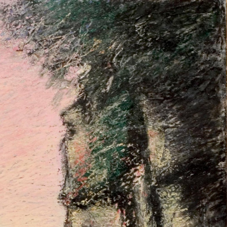 Curved Street with Pink Sky, Houses, Wall and Trees Oil Pastel For Sale 6