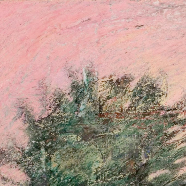 Curved Street with Pink Sky, Houses, Wall and Trees Oil Pastel For Sale 7