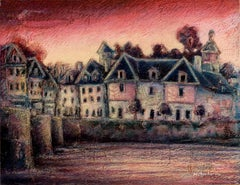 View of the Saint-Goustan Port at Sunset Oil Pastel