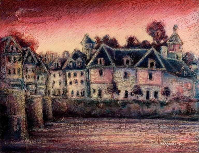 Marc Chaubaron Landscape Painting - View of the Saint-Goustan Port at Sunset Oil Pastel