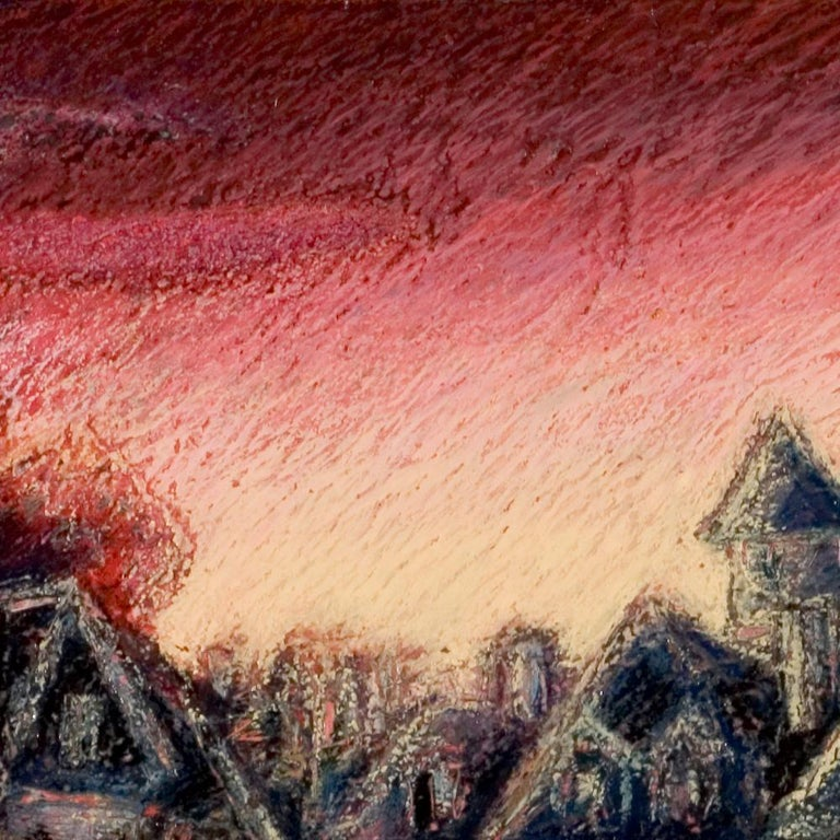View of the Saint-Goustan Port at Sunset Oil Pastel - Painting by Marc Chaubaron