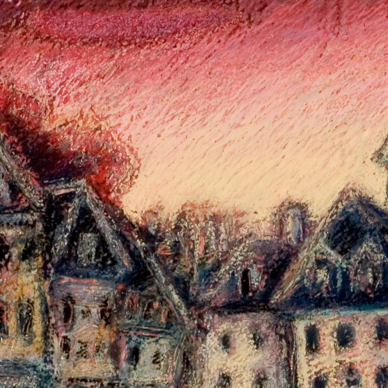 View of the Saint-Goustan Port at Sunset Oil Pastel - Impressionist Painting by Marc Chaubaron