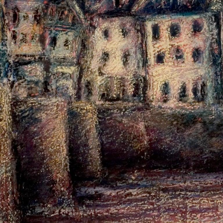 View of the Saint-Goustan Port at Sunset Oil Pastel - Black Landscape Painting by Marc Chaubaron