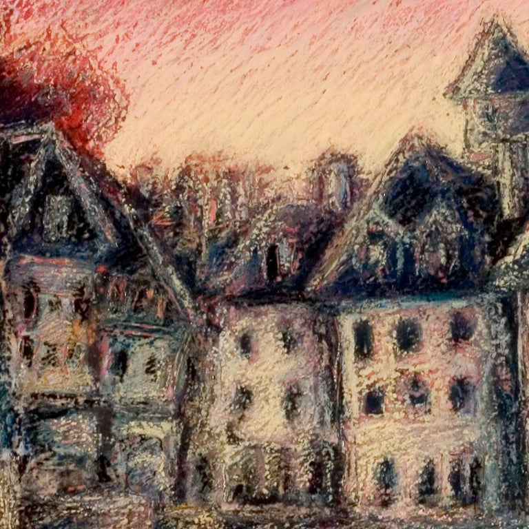 This artwork is part of a series of oil pastels from Marc Chaubaron, who aimed to keep a record of the old Saint-Goustan French port.  It depicts the Saint-Goustan port at sunset or dawn, with a wonderful red sky.  The artist used a homemade mixture