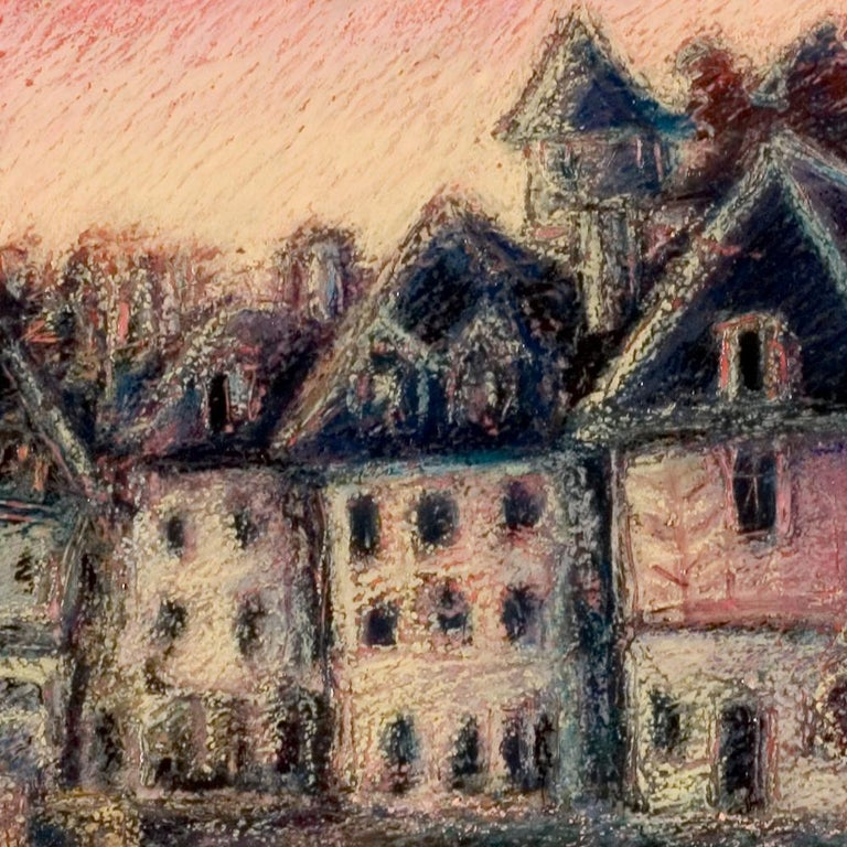 View of the Saint-Goustan Port at Sunset Oil Pastel For Sale 1