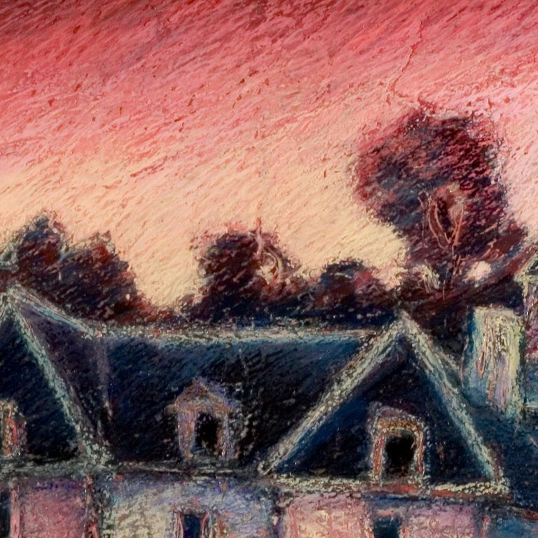 View of the Saint-Goustan Port at Sunset Oil Pastel For Sale 2