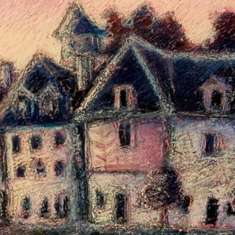 View of the Saint-Goustan Port at Sunset Oil Pastel For Sale 3