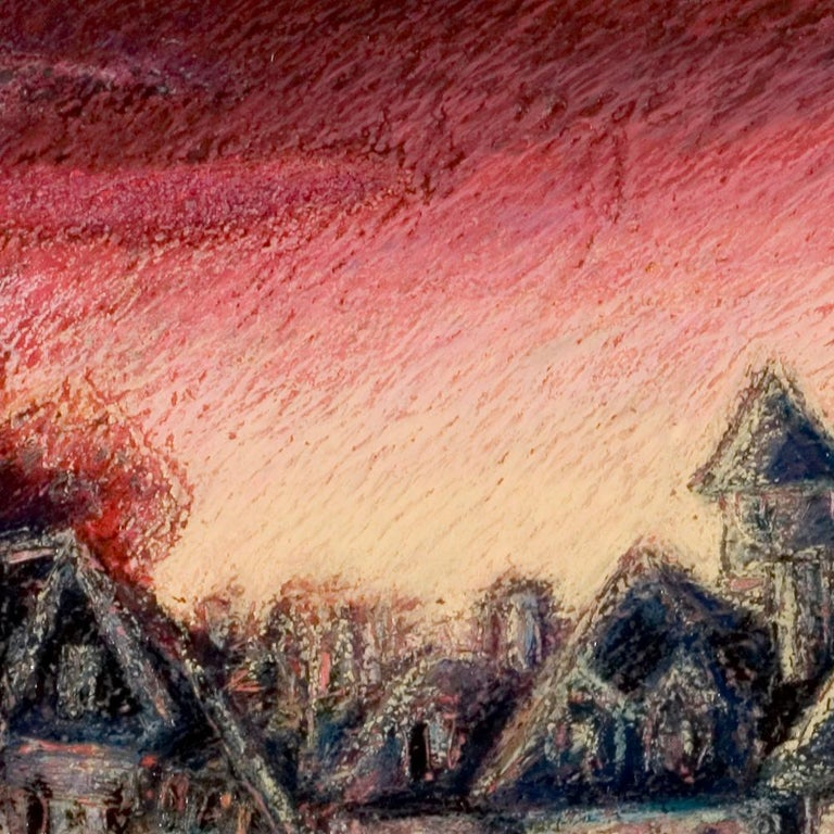 View of the Saint-Goustan Port at Sunset Oil Pastel For Sale 4