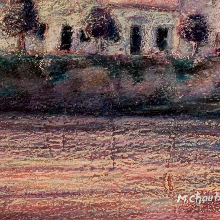 View of the Saint-Goustan Port at Sunset Oil Pastel For Sale 5
