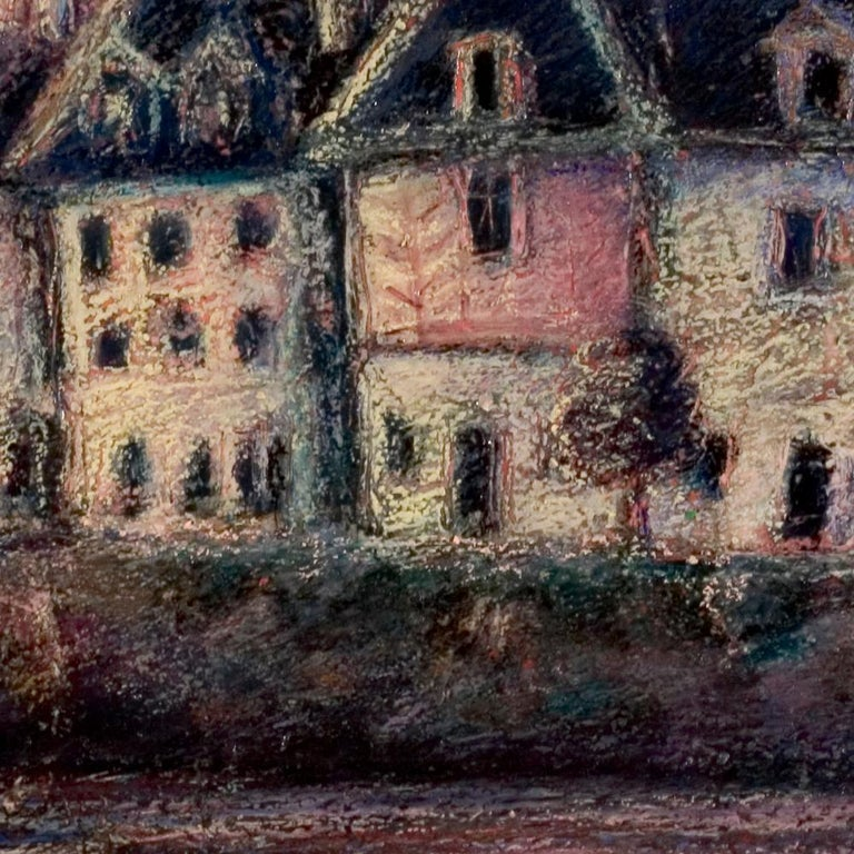 View of the Saint-Goustan Port at Sunset Oil Pastel For Sale 6