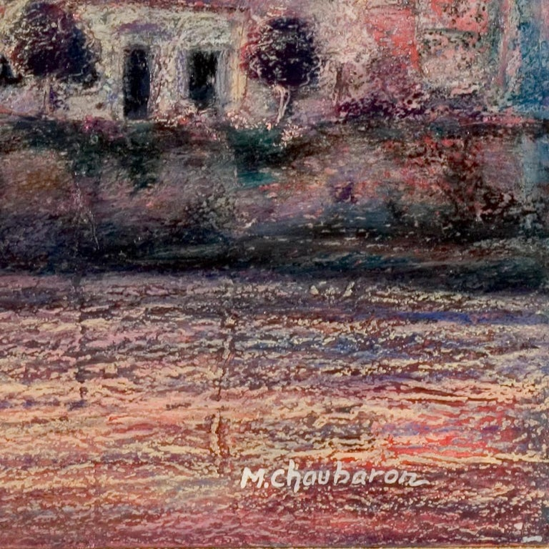 View of the Saint-Goustan Port at Sunset Oil Pastel For Sale 7