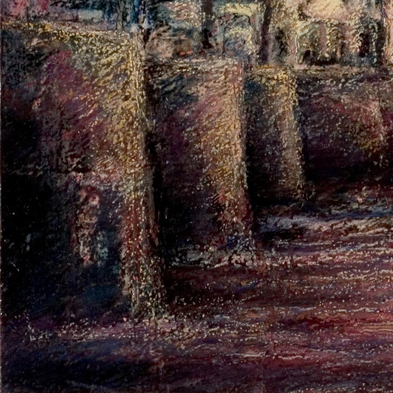 View of the Saint-Goustan Port at Sunset Oil Pastel For Sale 8